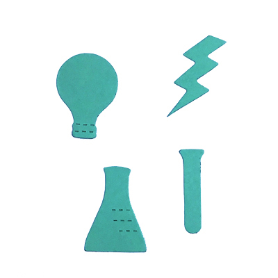 test tube, flask, lightbulb, lightning bolt